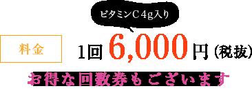 料金 1回 6,000円(税抜)ビタミンC4g入り